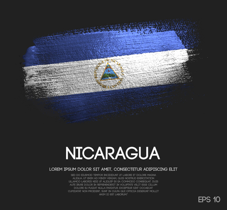 Nicaragua Flag Made of Glitter Sparkle Brush Paint Vector