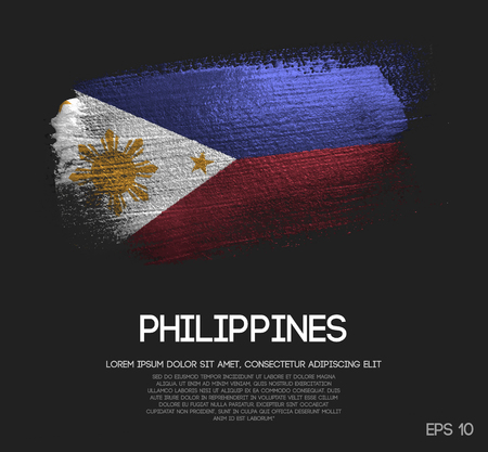 Philippines Flag Made of Glitter Sparkle Brush Paint Vector