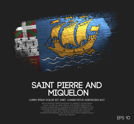 Saint Pierre and Miquelon Flag Made of Glitter Sparkle Brush Paint Vector