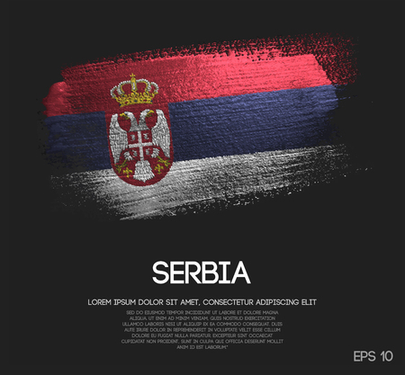 Serbia Flag Made of Glitter Sparkle Brush Paint Vector