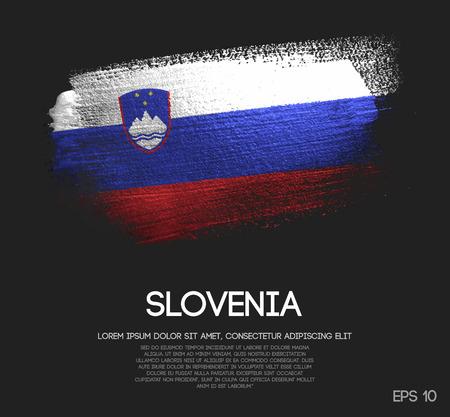Slovenia Flag Made of Glitter Sparkle Brush Paint Vector Illustration