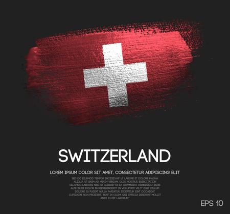 Switzerland Flag Made of Glitter Sparkle Brush Paint Vector