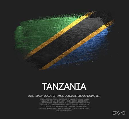 Tansania-Flagge aus Glitter Sparkle Brush Paint Vector Vektorgrafik