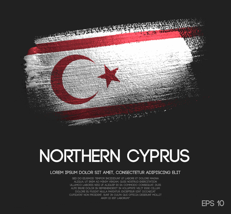 Northern Cyprus Flag Made of Glitter Sparkle Brush Paint Vector