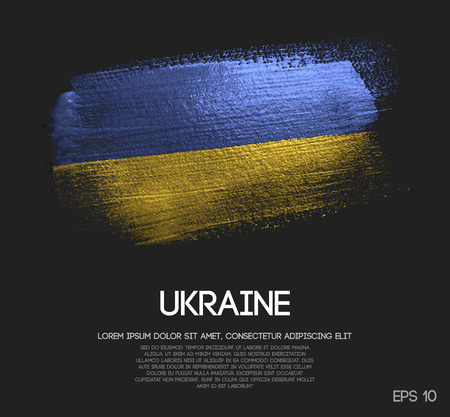 Ukraine Flag Made of Glitter Sparkle Brush Paint Vector