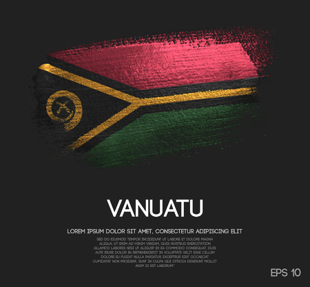 Vanuatu Flag Made of Glitter Sparkle Brush Paint Vector