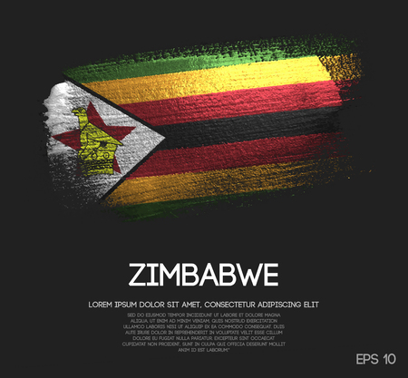 Zimbabwe Flag Made of Glitter Sparkle Brush Paint Vector