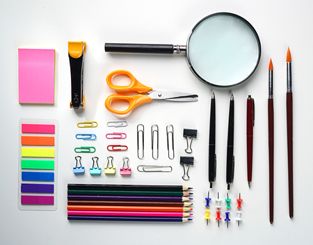 Neat School Stationary Flat Lay on White Background