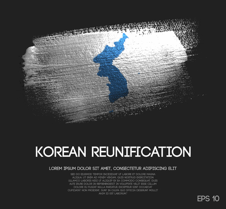 Unification Flag of Korea Made of Glitter Sparkle Brush Paint Vector 일러스트