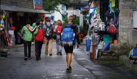 Trekkers Walking at Market Street at Lukla Nepal