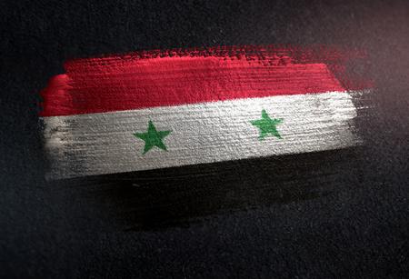 Syria Flag Made of Metallic Brush Paint on Grunge Dark Wall