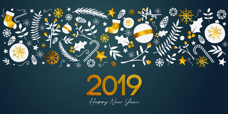 2019 Happy New Year Golden Text on Dark Teal Background Banner