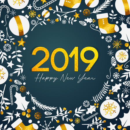 2019 Happy New Year Golden Text on Dark Teal Background Illustration