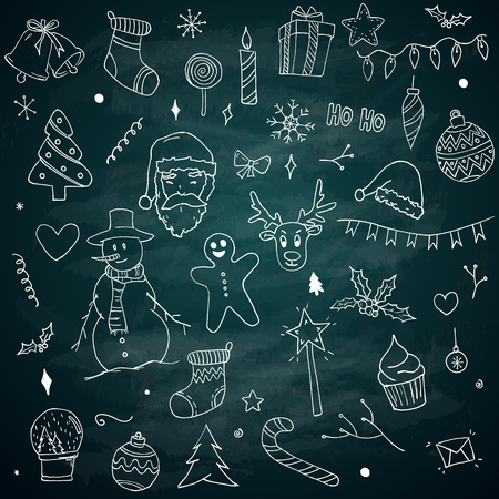 Christmas Doodles Sketch Pack Elements on Blackboard