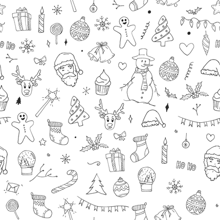 Seamless Pattern of Christmas Doodles Sketch