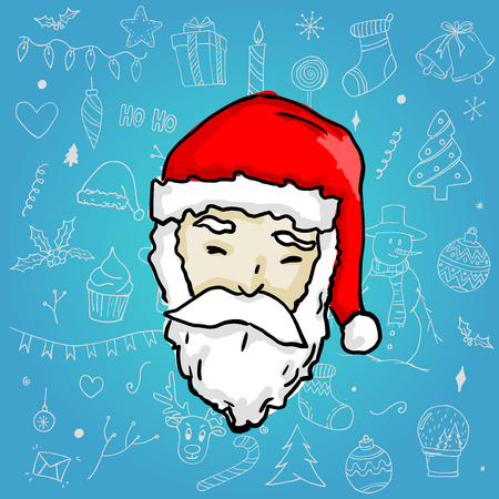 Santa Claus on Blue Cyan Christmas Ornament Background Illustration