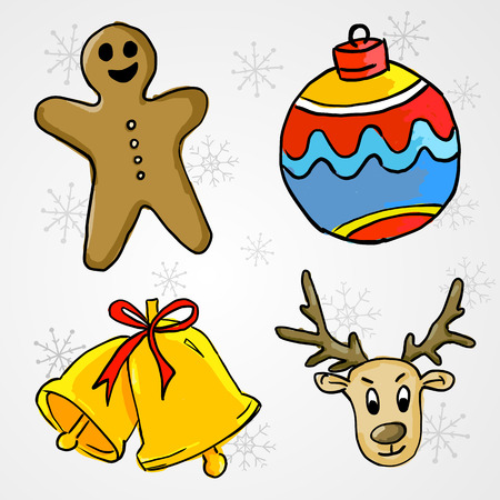 4 Christmas Ornament - Ginger Bread, Bauble, Bell and Deer Illustration