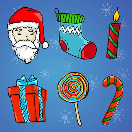 6 Christmas Ornament - Santa Claus, Gift, Candle, Sock, Lollipop and Candy Cane Illustration