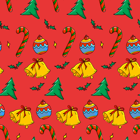 Seamless Christmas Pattern - Bauble, Candy Cane, Bell, Christmas Tree on Red  Background