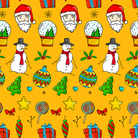 Seamless Christmas Pattern - Santa Claus, Snow man, Snow Globe, Star, Bauble, Gift on Orange Background