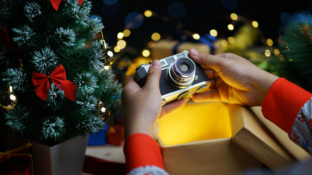 Concept of Getting Vintage Camera from Christmas Gift
