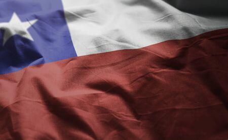 Chile Flag Rumpled Close Up Banco de Imagens