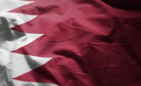 Bahrain Flag Rumpled Close Up