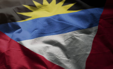 Antigua and Barbuda Flag Rumpled Close Up