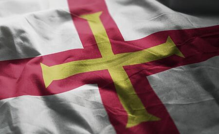 Guernsey Flag Rumpled Close Up