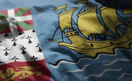 Saint Pierre and Miquelon Flag Rumpled Close Up