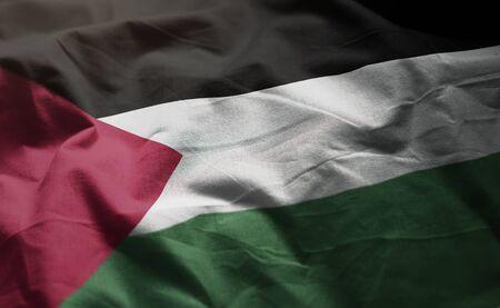 Palestine Flag Rumpled Close Up