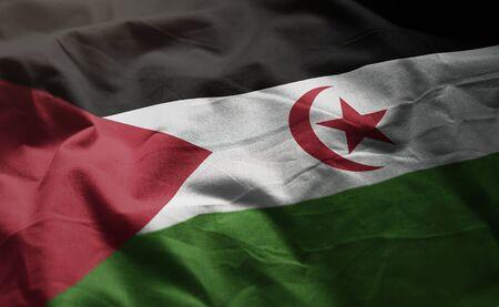 Sahrawi Flag Rumpled Close Up Banque d'images - 129314906
