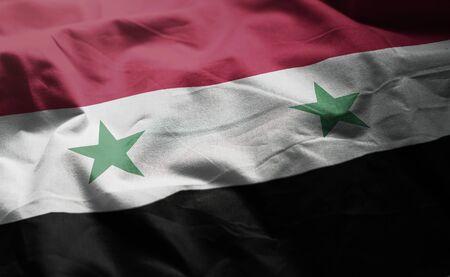 Syria Flag Rumpled Close Up