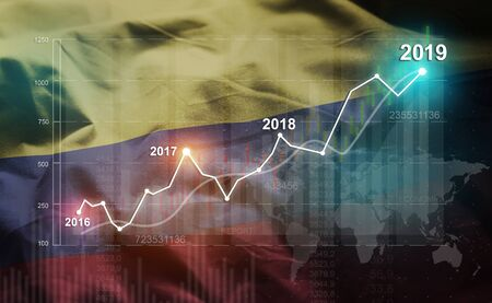 Growing Statistic Financial 2019 Against Colombia Flag