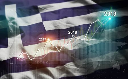 Growing Statistic Financial 2019 Against Greece Flag