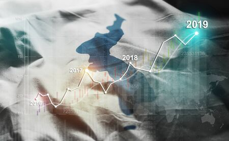 Growing Statistic Financial 2019 Against Unification Flag of Korea Flag