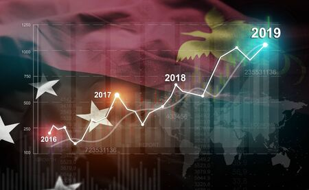 Growing Statistic Financial 2019 Against Papua New Guinea Flag