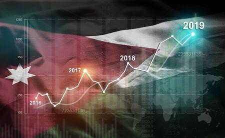 Growing Statistic Financial 2019 Against Jordan Flag