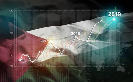 Growing Statistic Financial 2019 Against Palestine Flag