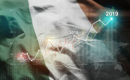 Growing Statistic Financial 2019 Against Ireland Flag