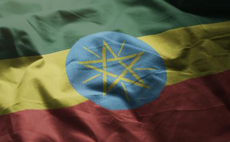 Ethiopia Flag Rumpled Close Up