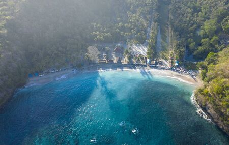 Glorious Drone Shot in The Morning of Crystal Bay at Nusa Penida, Bali - Indonesia