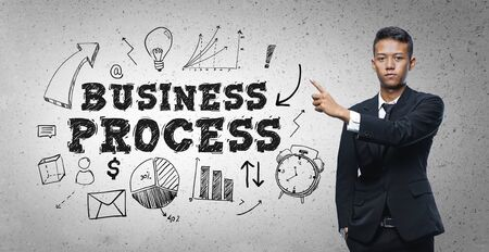 Asian Businessman Pointing Business Process Text Sketch Concept
