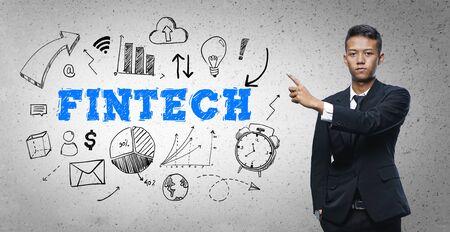Asian Businessman Pointing Fintech Text Sketch Concept