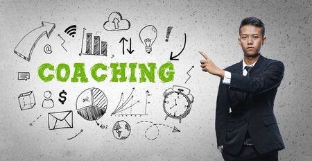 Asian Businessman Pointing Coaching Text Sketch Concept