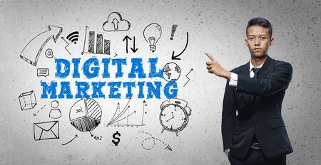 Asian Businessman Pointing Digital Marketing Text Sketch Concept