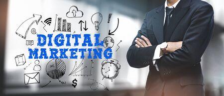 Asian Businessman on Blurred Office Background. Digital Marketing Sketch Concept