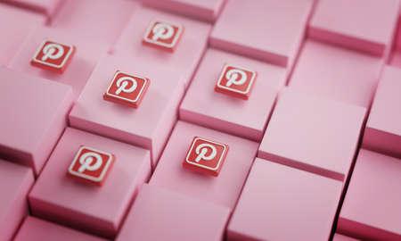 Pinterest Logo on Cubes. Social Media Background 3D Rendering