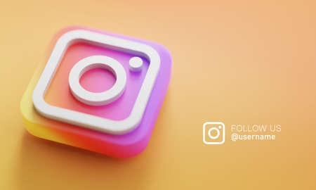 Instagram 3D Rendering Close up. Account Promotion Template.