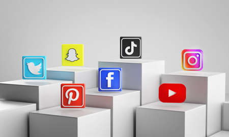 Most Popular Social Media Icon on 3D Rendering White Cubes